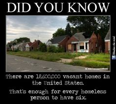 Homeless people and peopleless homes.  It seems like there should be a solution in there somewhere, but we just can't quite make it out...