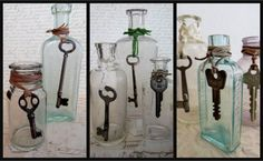 Bottles And Jars, Candle Sconces, Wall Lights, Shabby, Candles, Rue, Crafts, Keys, Main Street