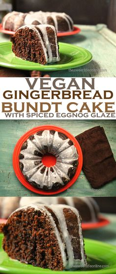 This delicious vegan Gingerbread Bundt Cake makes the perfect holiday dessert. Click the photo for the full recipe!