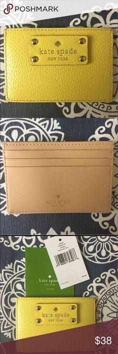 NWT Kate Spade Graham Wellesley Card Holder New, never used Kate Spade Graham Wellesley Card Holder - Yellow. Tags and care card included. kate spade Accessories Key & Card Holders