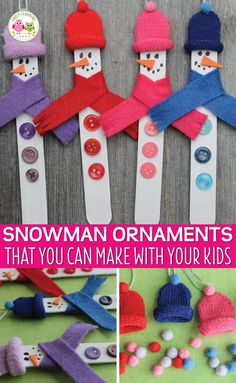 Snowman Crafts for Kids: a DIY Snowman Christmas Ornament - Make a snowman ornament using a craft stick and knit gloves. This is a fun craft to make with kids. Christmas Party Activities, School Christmas Party, Preschool Christmas, Christmas Crafts For Kids, Craft Stick Crafts, Christmas Projects, Holiday Crafts, Crafts With Kids, Popsicle Stick Christmas Crafts