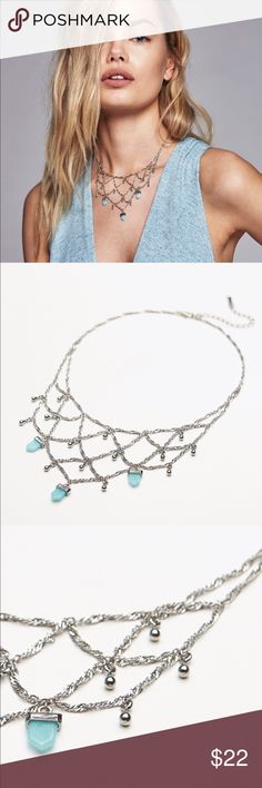 Free People delicate silver turquoise necklace New with tags  Free People Jewelry Necklaces
