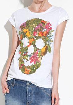 White Skull Print Short Sleeve Cotton Blend T-Shirt