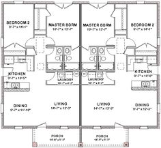 2 bedroom 2 bath cottage plans | Duplex House Plans Full Floor Plan 2 Bed 2 Bath | eBay