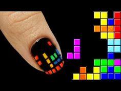 Tetris Nail Art Tutorial - I am so doing this tonight. Glam Nails, Diy Nails, Cute Nails, Pretty Nails, Creative Nail Designs, Simple Nail Art Designs, Creative Nails, Rasta Nails, Nailart