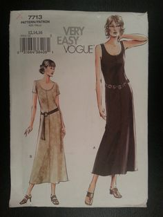 Vogue 7713 Misses Very Easy Pull-on Slightly Flared Dress sewing pattern sizes 12-14-16 by Noahslady4Patterns on Etsy