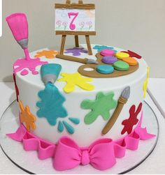 "We have collection of stunningly beautiful cake decorating to help inspire your baking passions and delight to the guest of honor. Take a look at the gallery board ""Cake Designs"" Girls 9th Birthday, Art Birthday Cake, Artist Birthday Party, Small Birthday Cakes, Fairy Birthday Party, Themed Birthday Cakes, Birthday Party Themes, Art Party Cakes, Art Themed Party"