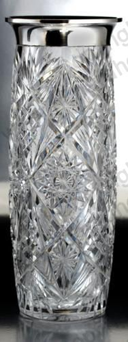 ANTIQUE GLASS: CRYSTAL SILVER & GILT. c.1900 TALL EGERMANN CUT CRYSTAL VASE WITH APPLIED HEAVY SILVER RIM MOUNT. To visit my website click here: http://www.richardhoppe.co.uk or for help or information email us here: info@richardhoppe.co.uk