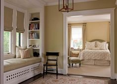 Where can I put a window seat like that - must find a spot!  Love the custom sheves too. Thank you to A-M from The House That A-M Built for posting such beautiful photos