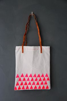neon tote bag diy with potato stamp triangles