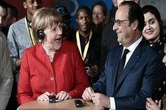 Photo Reuters Jeudi 7 avril, Angela Merkel et François Hollande se sont retrouvés à Metz à l'occasion du 18ème Conseil des ministres franco-allemand et se racontent une blague : Deux mecs discutent au bar : - Argh ! J'en ai marre ! J'ai vraiment un boulot...