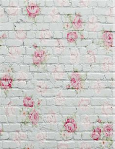 Amazon.com : 5x6.5ft Photography Background White Brick Wall Pink Flowers Wallpaper Backdrop for Newborn Photo Studio : Camera & Photo