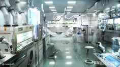 16) The interior of Dr. Erland's lab. It looks so clean and white. I would be afraid to make it dirty! (Future Tech Sci Fi)