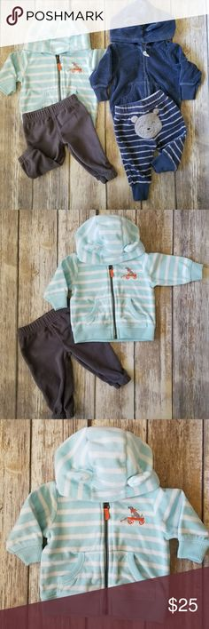 🌹Carter's Baby Boy Character Fleece Set🌹 Carter's baby boy character fleece set. Two sets of zipped up hoodies & bottoms. Cute bear & dog designs. Fleece. Please see picture for material information.  In good pre-loved condition. Carter's Matching Sets