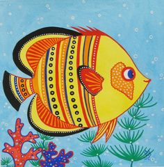 SALE Yellow Fish ORIGINAL Watercolor Painting Kids Wall Art Sea Creature Ocean Orange Red Blue Nautical Illustration by Olena Baca Sale. $30.00, via Etsy.
