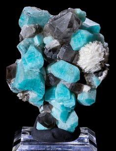 Amazonite & Smoky Quartz w/ Cleavlandite - Mineral Specimen - Smoky Hawk Claim