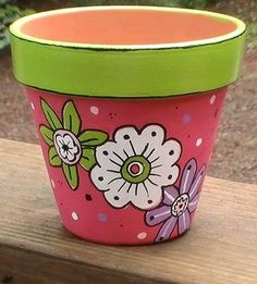 Handpainted Lime Green and Pink Terra Cotta by TheLaughingCabin - garden pot design Flower Pot Art, Flower Pot Design, Flower Pot Crafts, Painted Plant Pots, Painted Flower Pots, Flower Planters, Flower Containers, Clay Pot Projects, Clay Pot Crafts