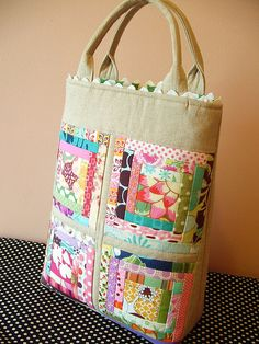 Idea for all of my scraps I can't know one day they would be good for something!  scrappy log cabin bag by pinklemonadeboutique, via Flickr