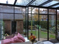 Steel greenhouses and skylights - Simply Steel - Roof window - Metal Shop Building, Steel Building Homes, Building A House, Glass Conservatory, Steel Sheds, Pergola Decorations, House Extension Design, Roof Window, Front Door Colors