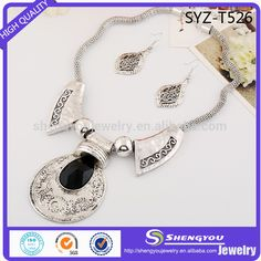 Chinese Traditional Antique Silver Plated Jewerly Big Black Crystal Charm Silver Plated Necklace And Earring Set