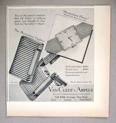 Van Cleef & Arpels Mysterious Lighter and Watch PRINT AD - 1948