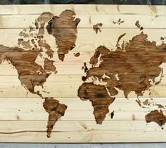 DIY Wooden World Map Art by @Melissa-TheHappierHomemaker — Why pay over 400 dollars for gorgeous wall art that you could make yourself?