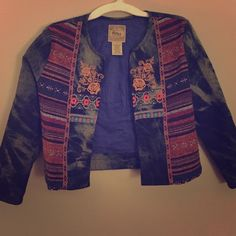 Quarter sleeve Jean jacket Colorful Afro centric looking jacket , worn once Jackets & Coats Jean Jackets