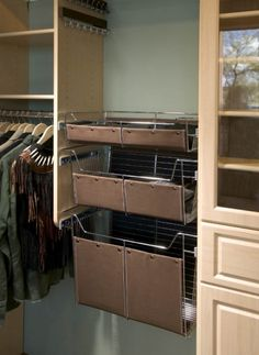 More Basket And Liner Options   Brown Leather   Inspiration California  Closets DFW