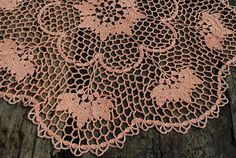 Handmade crochet tablecloth Size approx. - 21.3 inches (54 cm) in diameter Material - 100% cotton Color - Light orange (color Nr 21)