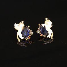 Elegant Unicorn Blue Crystal Earrings Set