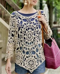 Stylish tunic  Huge octagon motif at the center of the body, ringed and shaped with pentagon motifs and octagons for the sleeves.        ...