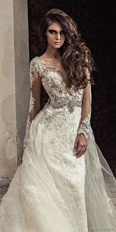 corona borealis 2018 bridal long sleeves sweetheart neckline full embellishment elegant princess sheath wedding dress a line overskirt sheer lace back royal train (6) zv -- Corona Borealis 2018 Wedding Dresses #weddingdress