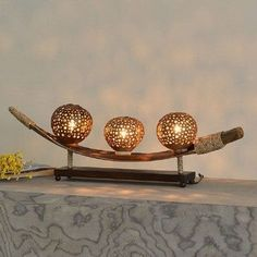 Handmade Coconut Shell Table Lamp Creative Solid Wood Desk Lamp For Bedroom Home Decoration