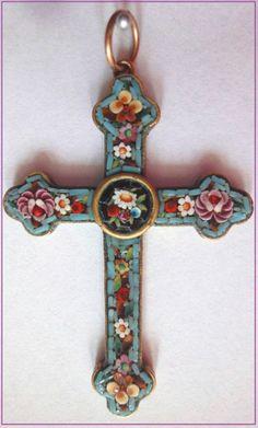 BEAUTIFUL MICRO MOSAIC Cross Pendant