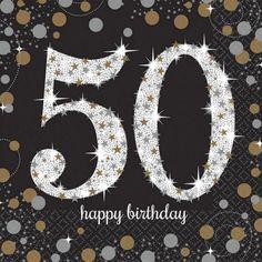 verjaardag 50 jaar servetten goud | Fop en Feestwinkel