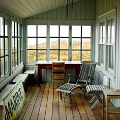 Inspiration Interior. Magnificent White Enclosed Porch Wall Painted With Gray Area Full Rugs As Well As Open Glass Windowed As Decorate Sunroom Enclosed Porch Designs: Sophisticated Slate Wooden Ceiling With Old Rail Wooden Rela Ing Chairs Also Wooden Table As Well As Barn Wooden Floors In Vintage Enclosed Porch Ideas