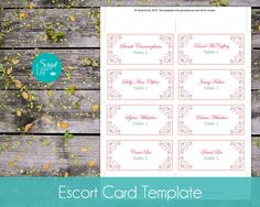 """Butterfly Escort Cards Template 