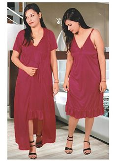 Indiatrendzs Women s Sexy Honeymoon Evening wear Hot Red 2pc Set Hot Nighty  Freesize Indiatrendzs http  93a259160