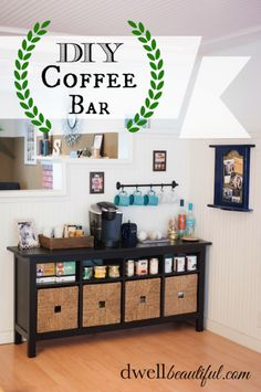A DIY Coffee and Tea Bar is great to have set up at a party. Set one up for your… A DIY Coffee and Tea Bar is great to have set up at a party. Set one up for your fall hosting adventures. Your guests will be so impressed with this! Salon Waiting Area, Home Salon, Apartment Living, My Dream Home, Home Projects, Home Kitchens, Sweet Home, New Homes, House Design