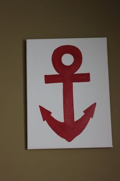 Anchor 12X16 hand painted canvas for Nautical Nursery to match Jackson Whale bedding. $25.00, via Etsy.