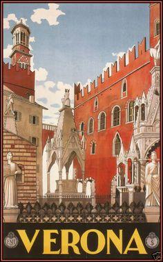 Verona, Italy 1928 Vintage Italian Poster Art Canvas