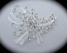 Bridal Floral Ribbon Rhinestone Brooch // Flower Crystal Brooch // Wedding Brooch // Bridal Accessory // Ribbon Floral Brooch by ForYourSpecialDay, $25.99 **FREE PRIORITY US SHIPPING**