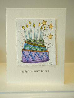 Birthday Card Original Watercolors Blue by betrueoriginalart