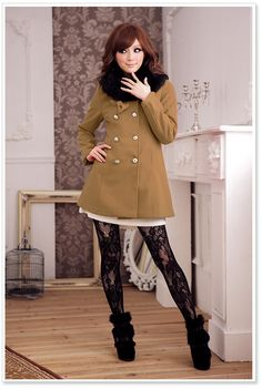 Cute and sassy winter outfit! Don't like the shoes so much, but love the jacket and tights combo.