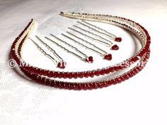 Swarovski Crystal Double Tiara Band - Red Crystal Tiara - Wedding Accessories £39.99