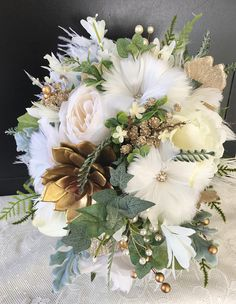 Wedding BouquetGold Bridal BouquetGatsby WeddingSucculent
