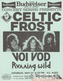 Celtic Frost, Voivod, Running Wild Celtic Frost, Tour Posters, Heavy Metal, Running, Live, Heavy Metal Music