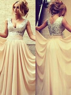 171a2795 elegant long evening dresses 2019 v neck sequined nude chiffon prom gowns  Item Code: BO3389-CPS046