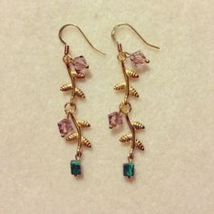 Gold vine earrings with crystals and Malachite
