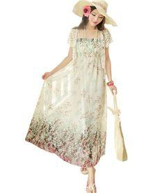 Qiyun SüßE Neue Frauen, Mädchen, Floral Chiffon- Lange Maxi Strandkleid Damen Sommer Sommerkleid Floralem Tunika Maxi Boho Kleid